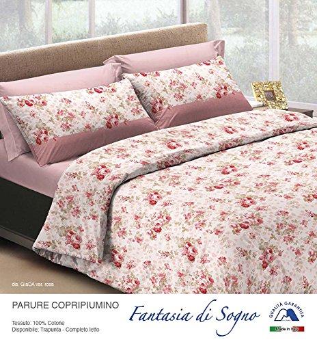 Smartsupershop Bettbezug mit Kissenbezügen Doppelbett Mis. 250x 200–Jade Pink–aus Baumwolle Made in Italy MG