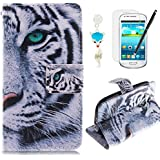HB-Int 4 in 1 Accessories PU Leather Case for Samsung Galaxy S3 Mini i8190 Tiger Book Style Cover Stand Function Shell Flip Wallet with Card Slots Pocket Magnetic Clousure Bumper Folding Pouch Protector Full Body Holster Soft Black Silicone with Screen Protector + Dust Plug + Stylus Pen