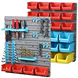 Yahee 43tlg Werkzeugwand mit Werkzeug Werkzeughalter Werkzeugaufbewahrung mit Stapelboxen farbig