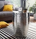Wohnling Beistelltisch Pedro 41,5x62x41,5cm Aluminium Silber Dekotisch orientalisch rund, Kleiner Hammerschlag Abstelltisch, Designer Ablagetisch Metall modern, Anstelltisch schmal, 48x48x69 cm