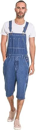 Uskees Mens Stonewash Denim Dungaree Shorts Bib Overall Shorts for Men BLAKESW
