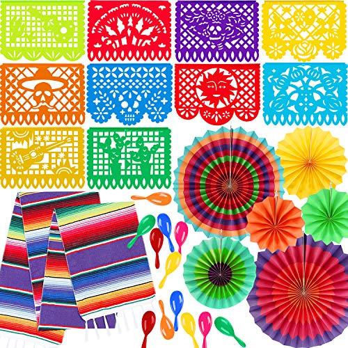 Zhanmai 20 Stücke Fiesta Party Lieferungen Mexikanischen Neon Maracas Mexikanischen Tischläufer Mehrfarbig Papier Fans Große Kunststoff Papel Picado Banner für Fiesta Party Dekoration