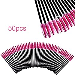 icycheer 50 Einweg Wimpernpinsel Mascara Stäbe Applikator spoolers Make-up pink