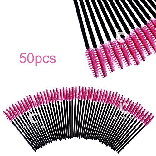 icycheer 50Einweg Wimpernpinsel Mascara Stäbe Applikator spoolers Make-up pink