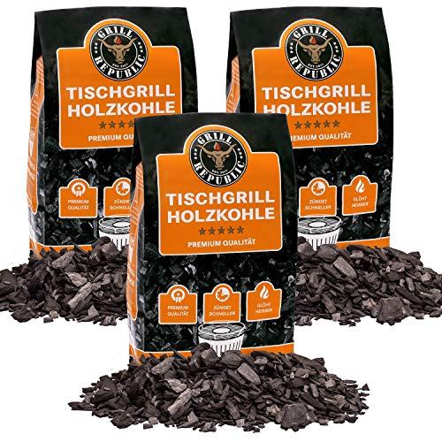 Grill Republic Tischgrill-Kohle 3X 2,5kg / 100% Reine Buchenholzkohle für rauchfreie Tischgrills...