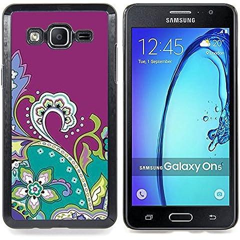 For Samsung Galaxy On5 O5 Case , Disegno viola Fractal Flowers - Design Pattern Duro Staccabile Stile Telefono Cellulare Nuovo Caso Cover Guscio Duro