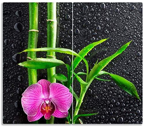 Herdabdeckplatte / Spritzschutz aus Glas, 2-teilig, 60x52cm, für Ceran- und Induktionsherde, Bambus und pinke Orchidee auf schwarzem Glas mit Regentropfen