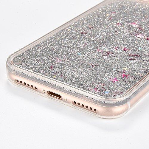 Voguecase Pour Apple iPhone 7 4,7, Dual Layer Luxe Flowing Bling Glitter Sparkles Quicksand et les étoiles Hard Case étui Housse Etui(Maquillage) de Gratuit stylet l'écran aléatoire universelle Argent