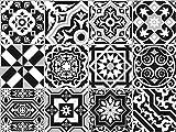 """The Nisha 24 PC """"Peel and Stick"""" Adesivo per Muri in Vinile Piastrella, Decals per la Cucina & Bagno in Stile Art Eclectic, Adesivi muro murali, 10x10 cm, Nero bianco"""