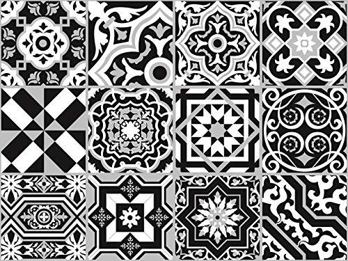 The Nisha 24 PC Peel and Stick Wall Tile Stickers Wandtattoo Wandkleber Backsplash Vinyl Fliesenkleber Abziehbilder Kunst Küche & Badkamer Ecletic, 10x10 cm, Schwarz-Weiss (Peel Stick Tile Wand)