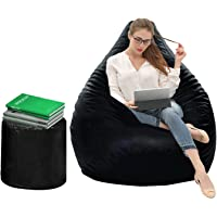Dr Smith Bean Bag with Footstool with Beans Filled, Size - XXL Colour- (Black)