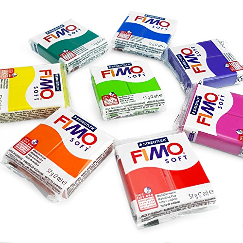 FIMO Soft Polymer Oven Modelling Clay - 57g - Set of 8 - Rainbow Colours - Indian Red Clay