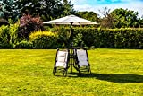 Kingfisher 6 Piece Cream Padded Chairs x4, Glass Table & Parasol Garden Patio Furniture Set