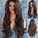Perruque longue ondulée pour femme dégradé cheveux cosplay costume lacet synthétique faux cheveux résistant à la chaleur pour aime, fête, festival