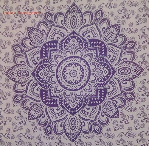 XURANFANG Indische lila kleine Tapisserie Poster Home Decor werfen Baumwolle Wandbehang Hippie, Ombre Mandala