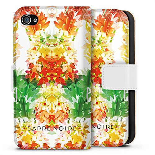 Apple iPhone X Silikon Hülle Case Schutzhülle Blumen Muster Flower Sideflip Tasche weiß