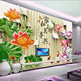 Y-Hui Custom 3d stereo TV wallpaper full seamless living room bedroom background murals jade carving peony home and everything,250cmx175cm