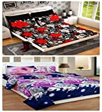 MJJ Home 160 TC Pack of 2 Double Bed sheet with 4 Pillow covers-Black & Purple floral Amazon deals