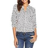 Meaneor Women's Easy Care Poplin Shirt Blouse Long Sleeve Polka Dot Plain Work Shirts