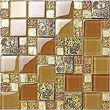 Rustikale goldene Farbe Harz Mix Metall Fliesen Design, gemischte Küche Backsplash Wand Glasfliesen, elegante Vintage Mosaik Baustoffe, LSRN14 (11 Stücke/pack)