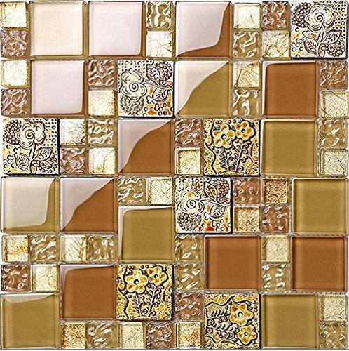 Backsplash Küche (Rustikale goldene Farbe Harz Mix Metall Fliesen Design, gemischte Küche Backsplash Wand Glasfliesen, elegante Vintage Mosaik Baustoffe, LSRN14 (11 Stücke/pack))