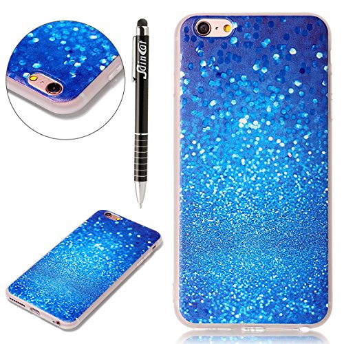 Coque iPhone 6, iPhone 6S Coque Silicone Transparent, SainCat Ultra Slim Transparent TPU Silicone Case Cover pour iPhone 6/6S, Coque Anti-Scratch Crystal Clear Soft Gel Cover Coque Fleur Transparent S Sable Bleu