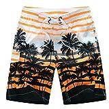 Short de bain homme Short de plage homme Maillot de bain homme Short d été homme Short imprimé homme Short de natation homme (4XL, Orange)