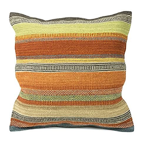 Kilim Housse de coussin Commerce équitable 80/20en laine/coton et teintures naturelles