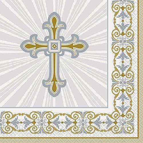 Servietten für die Erst-Kommunion, mit Kreuz- und Kelchmotiv, Taufe, 16 Stück Gr. Einheitsgröße, Cross Design (Die Erste Kommunion-party)