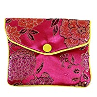 Buelgma Multiple Colors Satin Embroidery Pouch Gift Bags Jewelry Pendant Ring Bracelet Storage Bag Jewelry Bag (Red large)