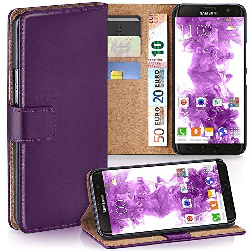 moex Samsung Galaxy S7 Edge | Hülle Lila mit Karten-Fach 360° Book Klapp-Hülle Handytasche Kunst-Leder Handyhülle für Samsung Galaxy S7 Edge Case Flip Cover Schutzhülle Tasche