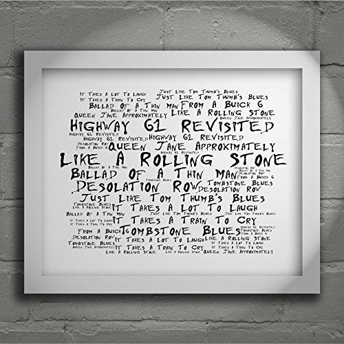 Preisvergleich Produktbild `Noir Paranoiac` Art Print - BOB DYLAN - Highway 61 Revisited - Signed & Numbered Limited Edition Typography Unframed 25 x 20 cm (10 x 8 inch) Album Wall Art Print - Song Lyrics Mini Poster
