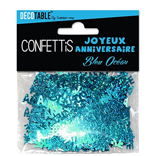 Confettis Joyeux anniversaire bleu 3760147517065