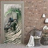 JIAER Surfen In Große Welle Wandkunst Bild Wand Wandaufkleber Tür Aufkleber Tapete Aufkleber Dekoration