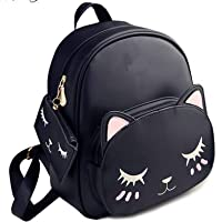 PAGWIN® Women Cute Small Catty Backpack With Pouch (PG-NEW71, Black)