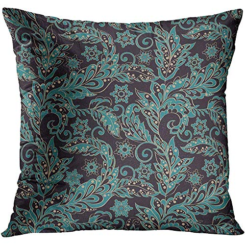 CHSUNHEY Fodera per Cuscino Decorativo Throw Pillowcase Batik Vintage Floral Retro Arabesque Arabic Cardboard Crafts Culture 18 x 18In,Eco-Friendly Print