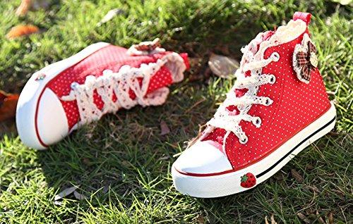 Scothen Mädchen Hoch Sneaker Leinenschuhe Blumenmuster Segeltuchschuhe High Top Turnschuh Textil Kid Schuhe Turnschuhe Canvas Kinder Schuhe Laufen Sport Baby Turnschuhe Mädchen Prinzessin schuhe Rot