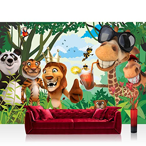 Vlies Fototapete 350x245 cm PREMIUM PLUS Wand Foto Tapete Wand Bild Vliestapete - JUNGLE ANIMALS PARTY no.2 - Kinderzimmer Kindertapete Zoo Tiere Safari Comic Party Dschungel - no. 087
