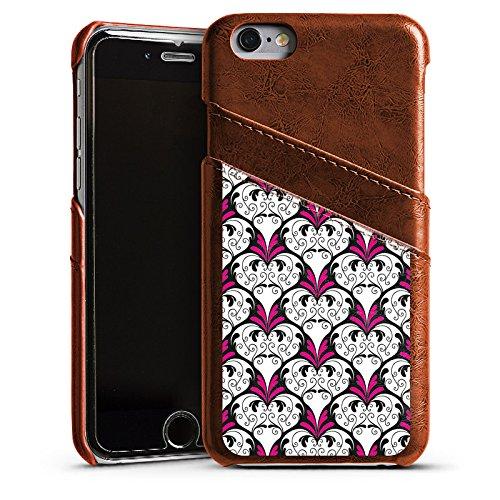 Apple iPhone 6 Housse Étui Silicone Coque Protection fleur Fleur Ornement Étui en cuir marron