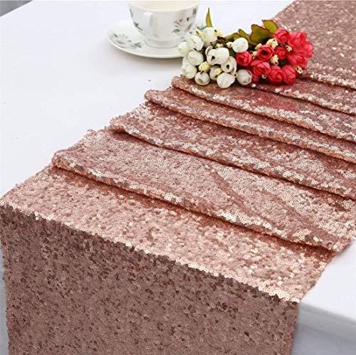 Toroton paillettes runner, 30 x 270 cm tovaglia glitter per decorazione festa nuziale - oro rosa