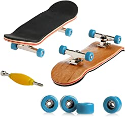 Kangnice Wooden Deck Fingerboard Skateboard Sport Games Kids Gift Maple Wood Light Blue