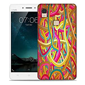 Snoogg seamless abstract hand drawn waves pattern Designer Protective Back Case Cover For Vivo V3 Max