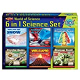 The Magic Toy Shop 6 in 1 Science Set Make Your Own Volcano Tornado Crystal Gems Dinosaur Fossil Snow Toy Kit