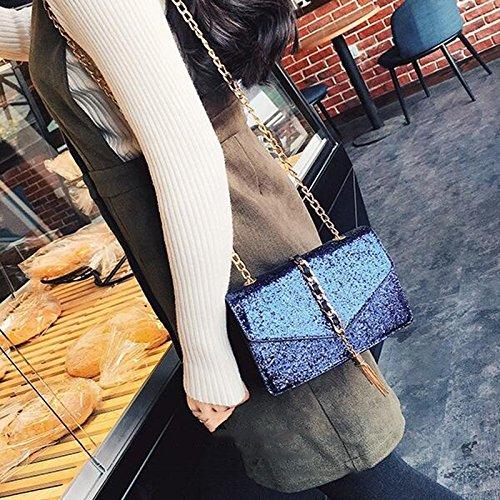 Duster-Paket, helles Leder-Bankett-Paket, Kupplung, Handtaschen, Diamant-Paket, schiefer Rucksack, Kette kleine quadratische Tasche ( Farbe : Blau ) Blau
