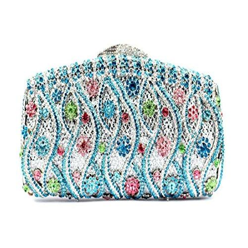 YILONGSHENG Femmes Sacs-pochettes bling fleur embrayage sac à main strass cristal soir (Gold) Blue