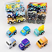 BBLIKE 6pcs Pull back and Go Mini Cars with Bag Hot Wheels Construction Vehicles Set Toys, Cake Decoration Plastic Model Toy Sets Classic Construction Team, Vehicle Play Trucks Early Educational for 3 Year Old Kids (12 mini cars)