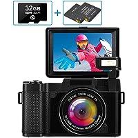 Fotocamera Digitale Fotocamera compatta Full HD 2.7K 30MP Fotocamera vlogging per YouTube Macchina Fotografica con…