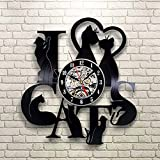 WANGXN Vinyl Wanduhr Katze Ich Liebe Dich Sieben Kätzchen Retro Schwarz Vinyl Kreative Wanduhren,Black,30Cm