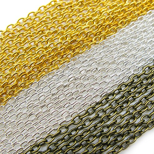 TOAOB 15m Mixed Colours Oval Cross Stainless Steel Cable Link Chain Clasps for Necklace Accessories DIY Jewelry Making Beginner Gold Silver Bronze in Colour -