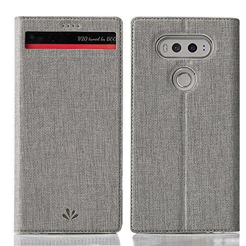 LG V20 Hülle Feitenn PU Ledertasche Automatic Schlaf Und Aufwachen Luxus Fenster Hülle Mit Standfunktion Und Kartenfächer Hoch Qualität Case Cover Handyhülle Für LG V20 - Grau